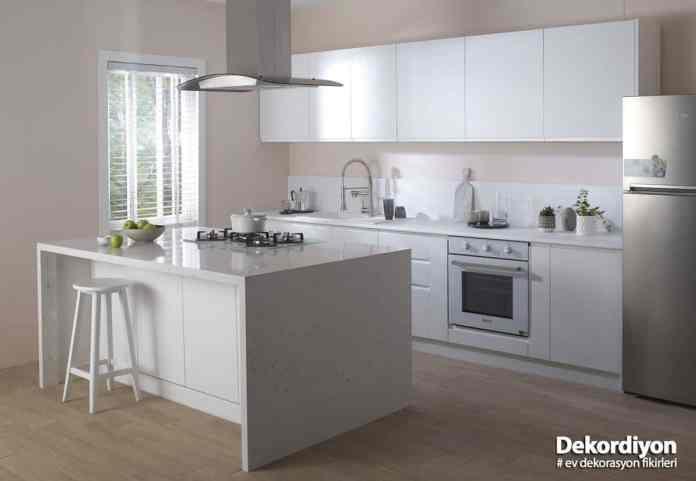 Beyaz modern amerikan mutfak modeli