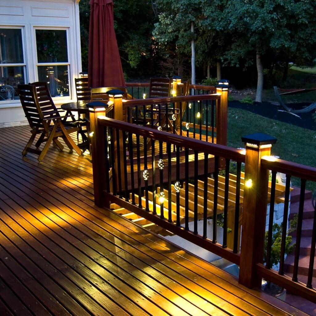 deck post lights led deck fence