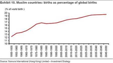 moslimlanden geboortes als percentage van geboortecijfer wereldwijd