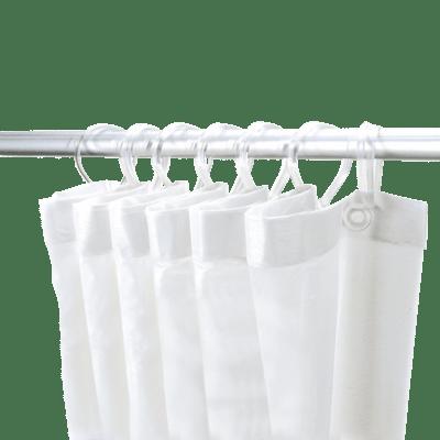 rideau de douche avec 8 mousquetons
