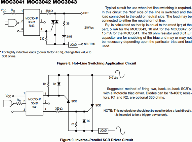 MOC3041 Zero Crossing Triac Output