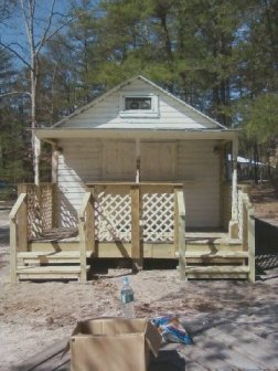 Camp store with new porch.