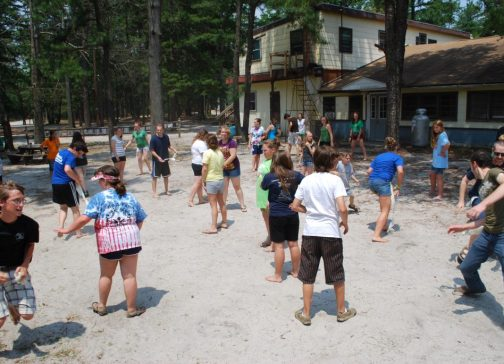 "Campers and Staff were running around and having fun playing ""paranoia""! (The object of the game was to take other peoples' flags, and try not to get yours taken.)"