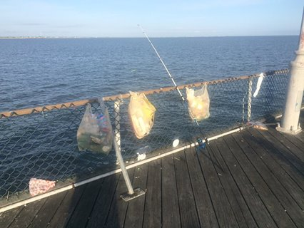 trash at cape henlopen pier, carry in carry out, keep our parks clean, litterbugs are scum,