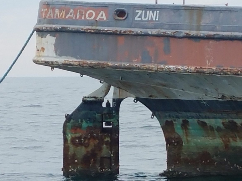 rudder, ship, tamaroa, del jersey reef land,