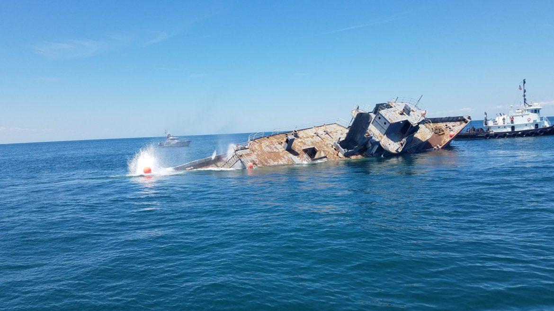 The Tamaroa sinking, artificial reef building, delaware, del jersey land reef, dnrec, sussex county, atlantic ocean