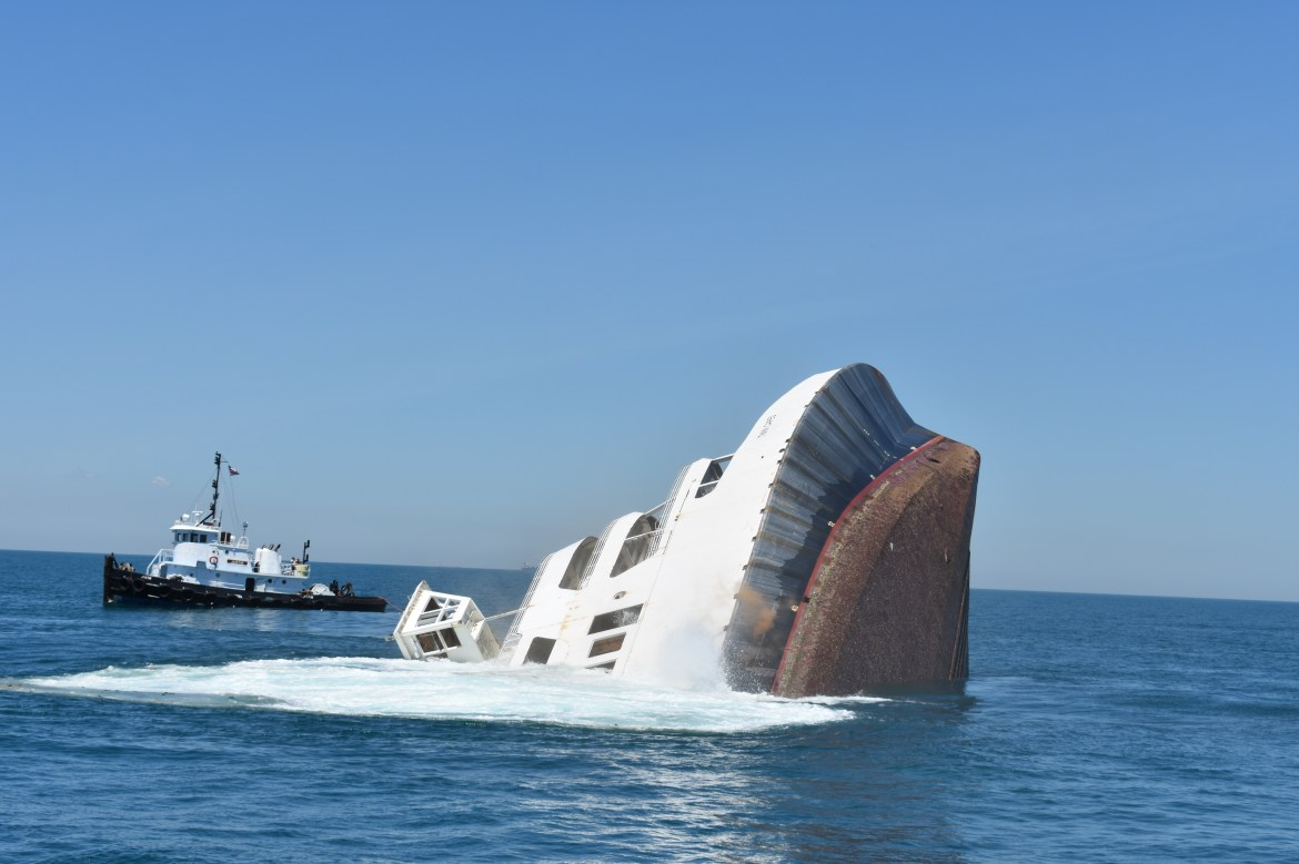 MV Twin Capes is sinking