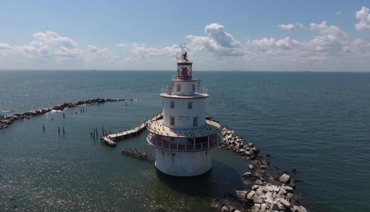 Brandywine Shoal Lighthouse in the Delaware Bay