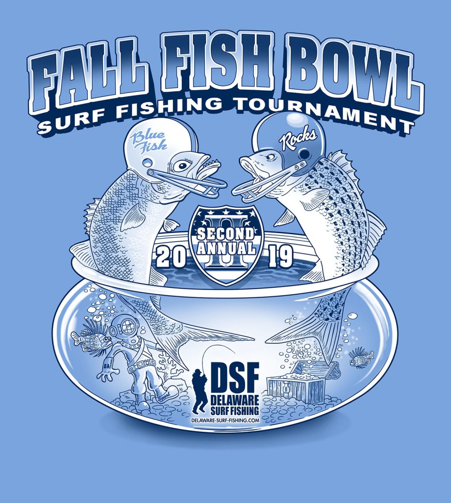 Fall Fish Bowl 2019 design, delaware surf fishing tournament, delaware state parks