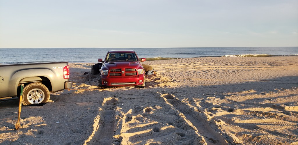 truck stuck on beach, faithful steward, savages ditch, delaware seashore state park , aggressive tire tread, mud tires, bad tires for sand, delaware surf fishing