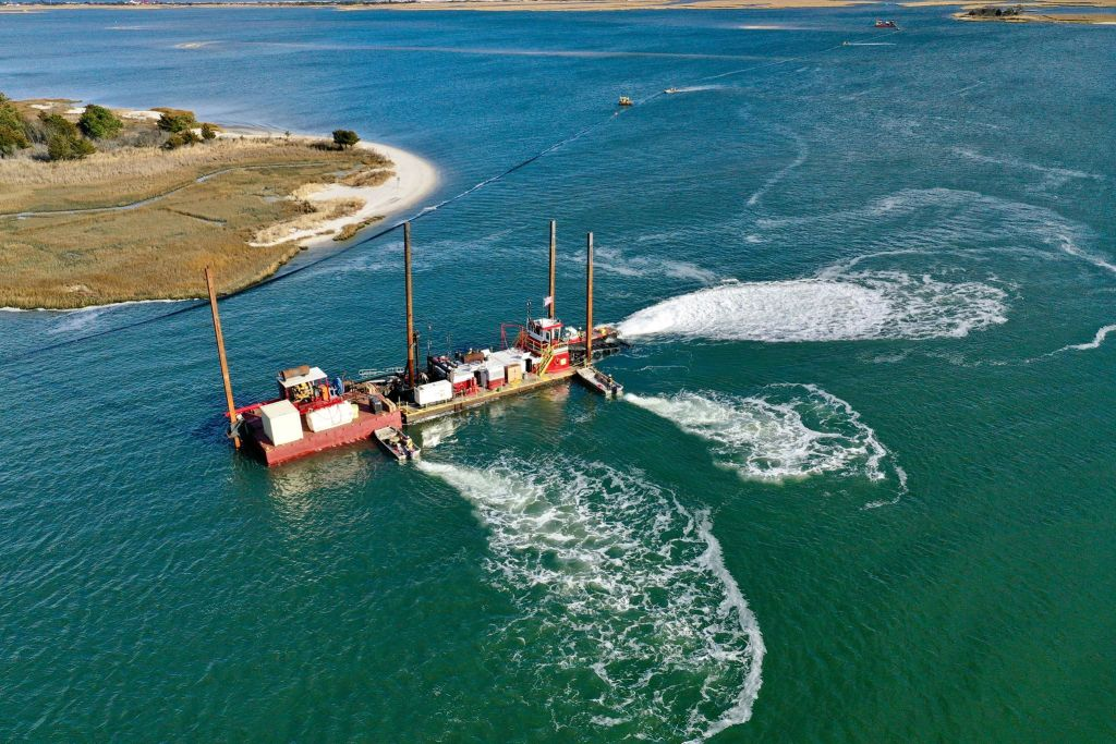 JF Brennan company, masseys ditch dredge project, driscoll drones, masseys ditch, masseys landing, inland bays, rehoboth bay, indian river bay, bird island, middle island,