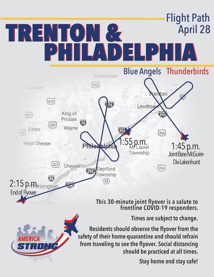 trenton, philadelphia, schedule, blue angels, thunderbirds, covid 19