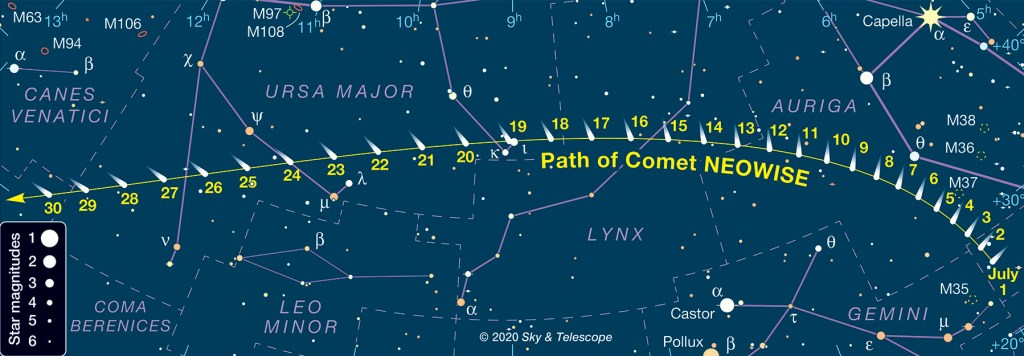 comet neowise, evening sky, delaware, sussex county