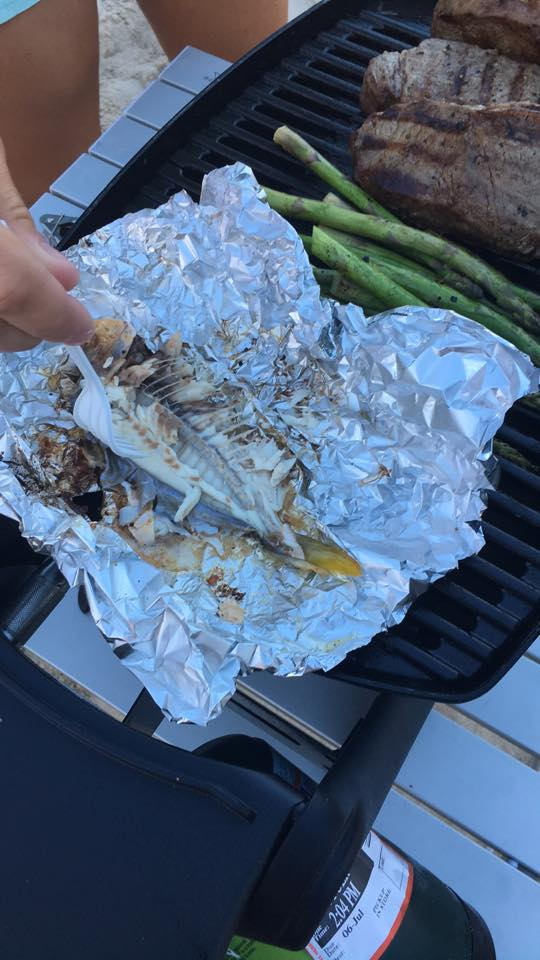 pompano on the grill, delaware surf fishing,