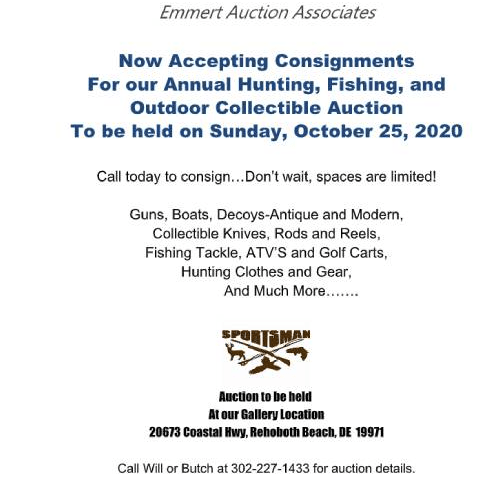 Emmert Auction House sportsman and outdoor sale 2020, rehoboth beach, delaware, sussex county