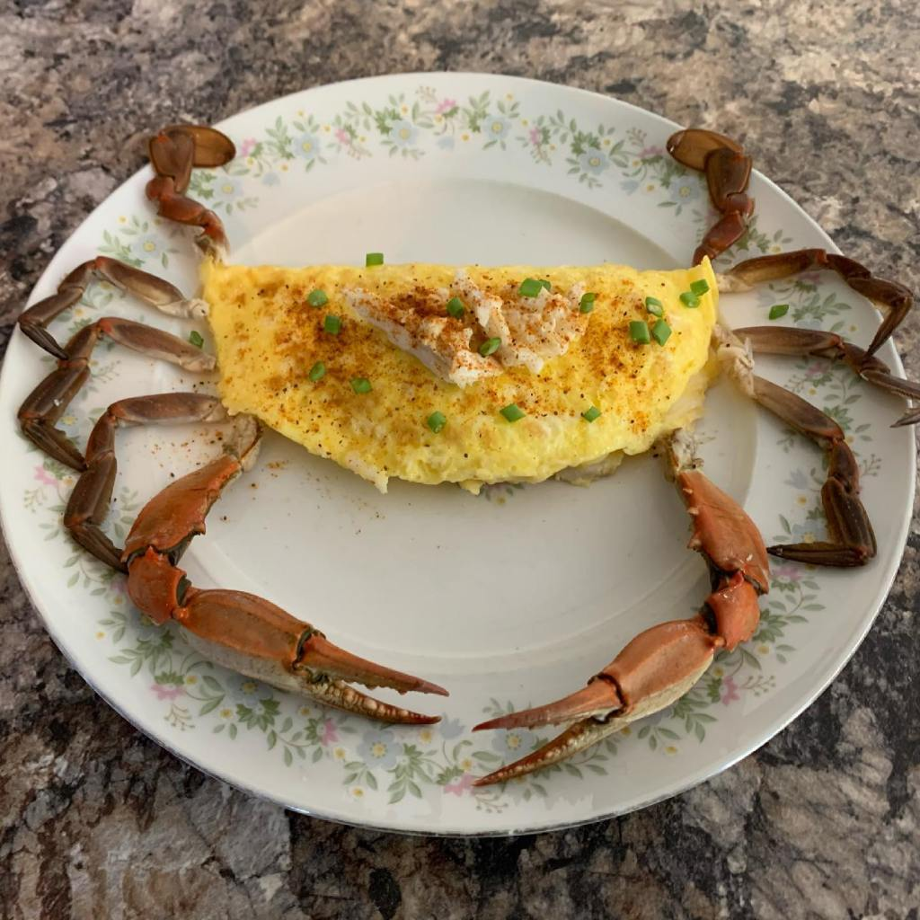 blue claw crab omelet, old bay, delaware surf fishing, recipes