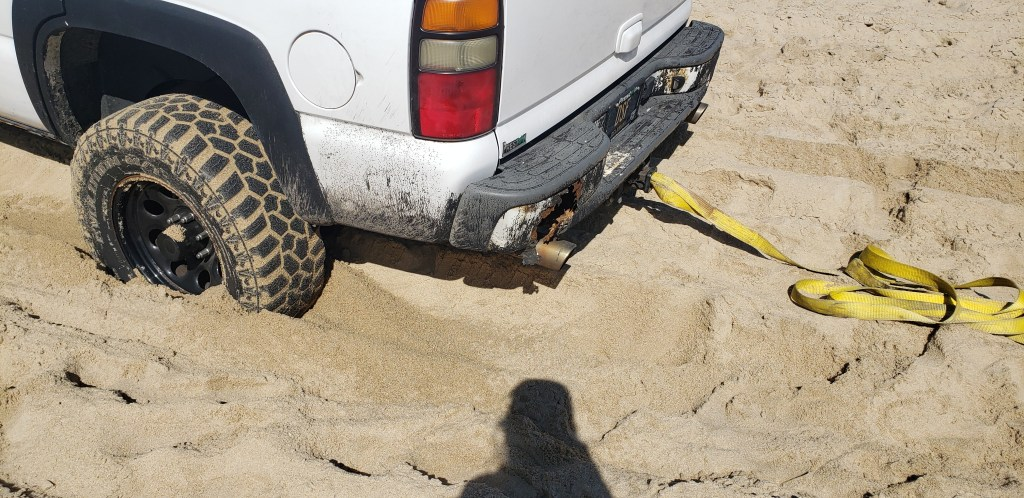 coastal towing, stuck on the beach, delaware surf fishing