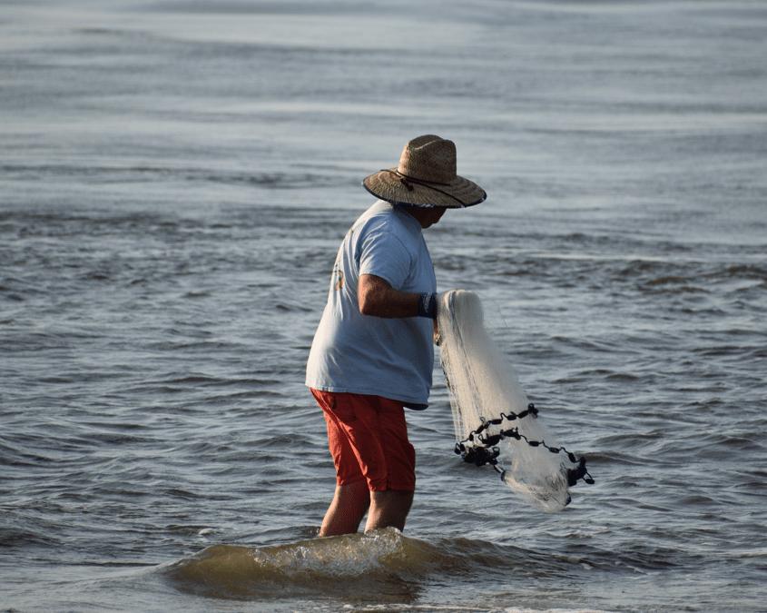 cast net, the point, bunker, menhaden, delaware surf fishing