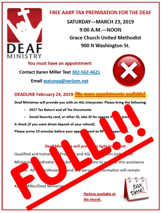 The 2019 Deaf Tax day at Grace Church is now full.  No more registrations being done now.