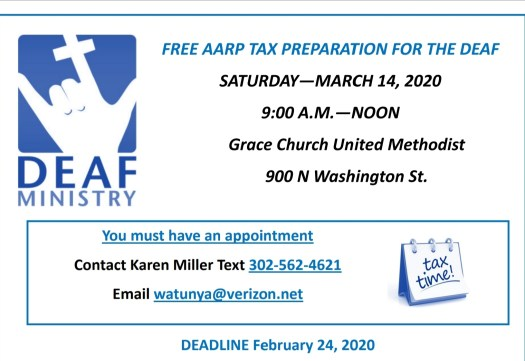 Deaf Tax day on March 14, contact Karen Miller for an appointment