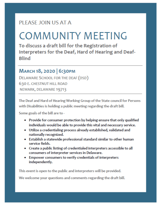 Interpreter Bill community meeting on March 18, 2020 at 6:30p at DSD