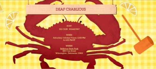 red shape is a crab with a hammer on right side with lemons around it.  title says deaf crablious, hosted by 302 Club, contact 302-442-3967 for details.  Oct 9, 2021 12p, Bellevue State Park