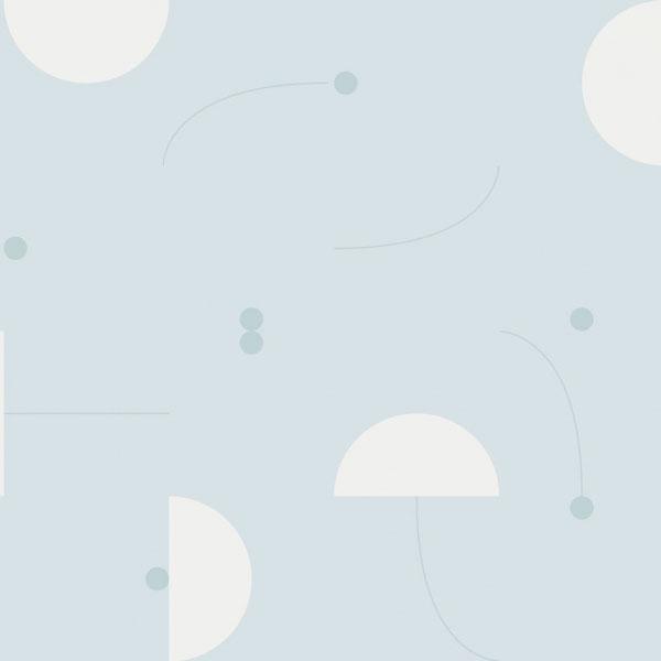 Papel pintado Primitive Roll en fondo azul diseñado por Jaime Hayon para England&Co