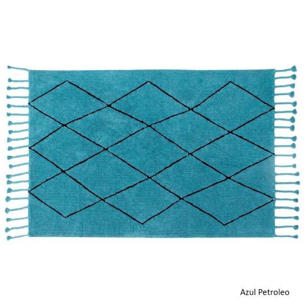 Alfombra lavable Bereber azul petroleo de Lorena Canals