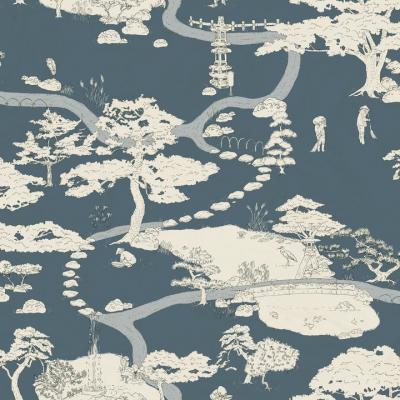 papel pintado Kenrokuen en azul