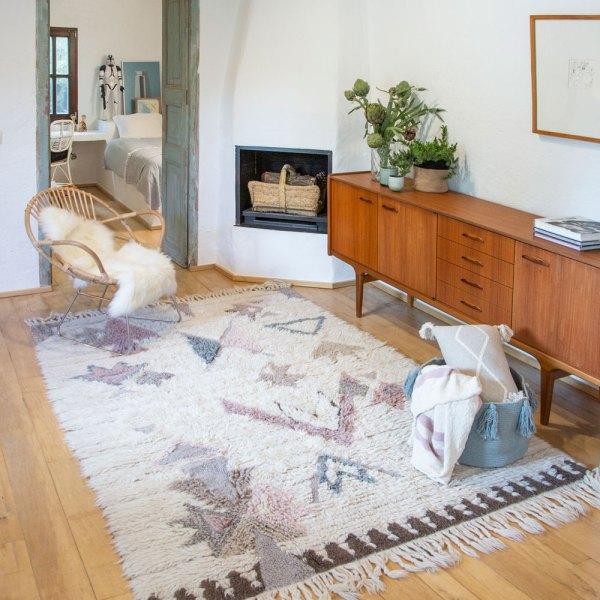 alfombra estilo bohemio modelo tuba de lana lavable