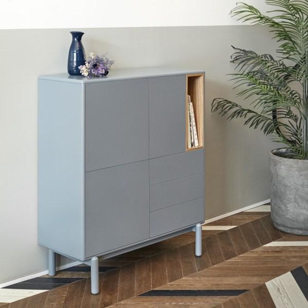 mueble auxiliar de almacenaje en gris