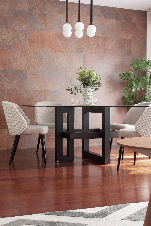 mesa de comedor con pie escultural