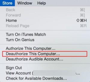 Deauthorize iTunes