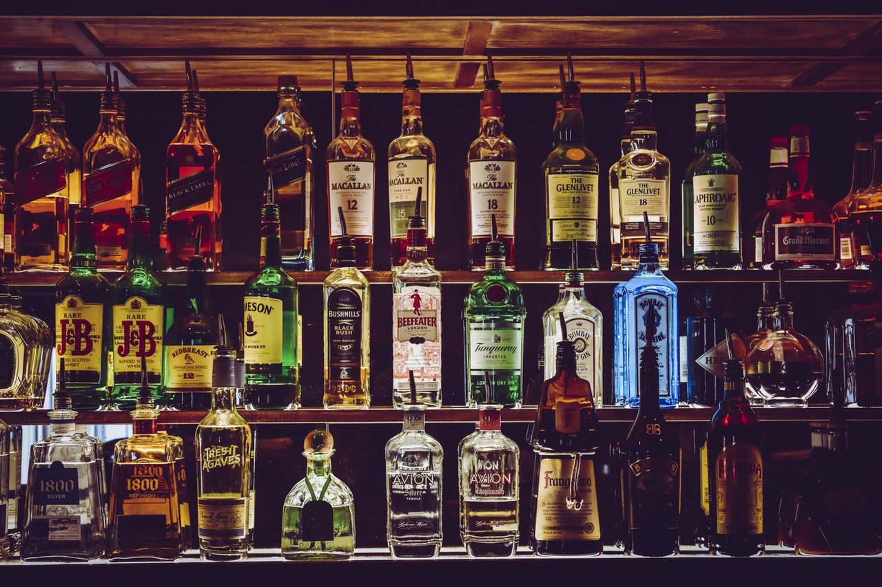 bottles of alcohol on the shelf