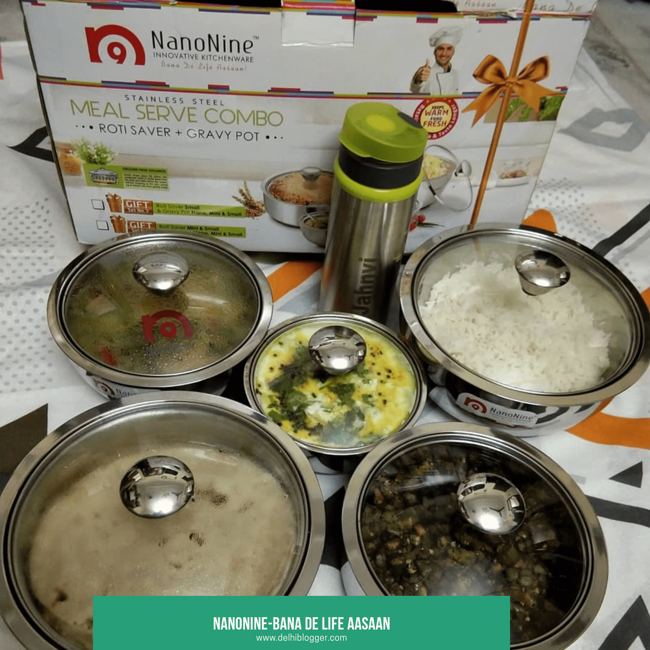 Nanonine meal serve combo,nanonine steel products,best kitchen set,delhiblogger