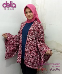 Baju Muslim Casual - Elzatta Cardigan Tomoko - Delia Hijab Merah