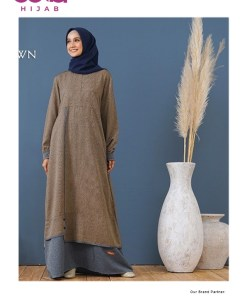 Baju Gamis Simple - Gamis Nibras NB A51 - Delia Hijab - Brown