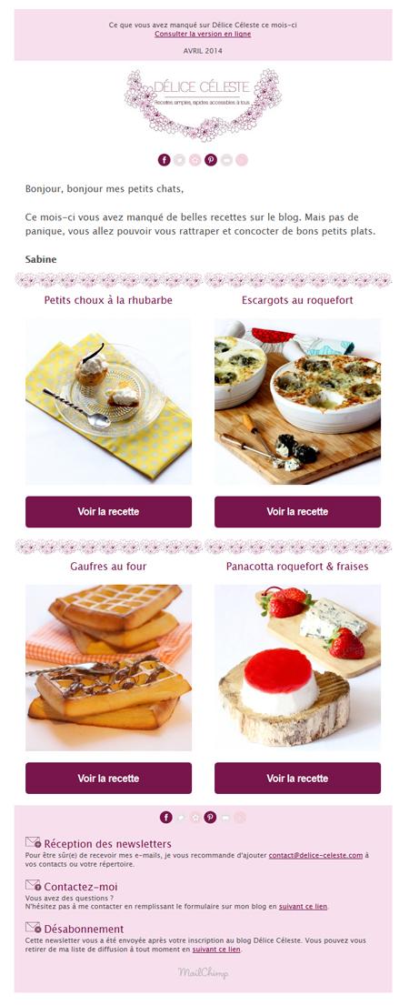 newsletter delice celeste recette cuisine
