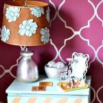 DIY Gold Herringbone Side Table Makeover