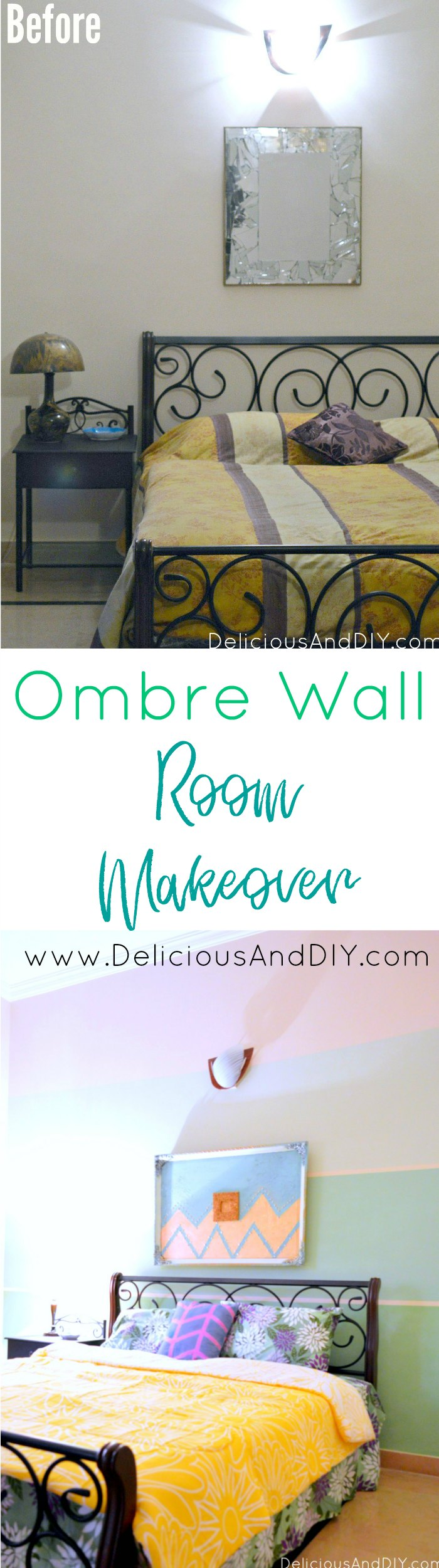 Ombre Wall Room Makeover| Accent Wall| Feature Wall Ideas| Room Makeover Ideas| Masking Tape Projects| Ombre Wall Ideas| Room Decor on a Budget