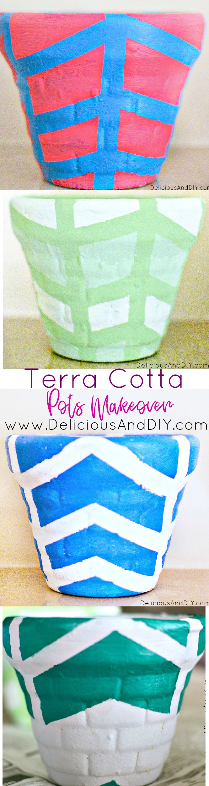 Terra Cotta Pots Makeover using masking tape| Bright colored Pots| Earthen Vase Makeover| DIY Crafts| Painted Pots| DIY Crafts| Handpainted Terra Cotta Pots| Bowl Makeover Projects