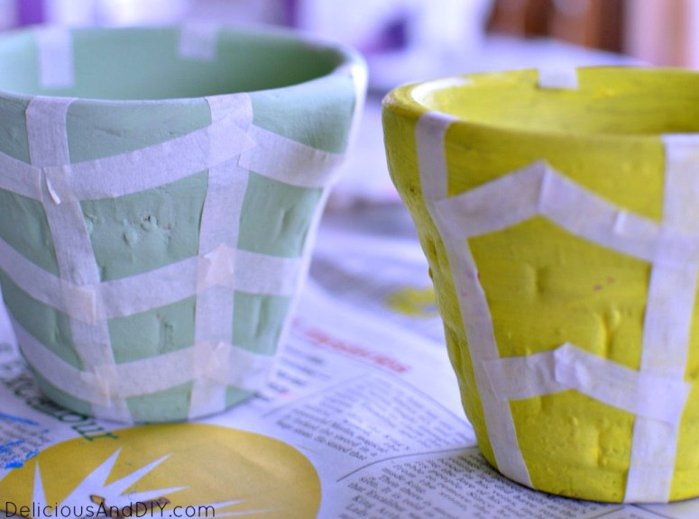 Terra Cotta Pots Makeover using masking tape| Bright colored Pots| Earthen Vase Makeover| DIY Crafts| Painted Pots| DIY Crafts| Handpainted Terra Cotta Pots| Bowl Makeover Projects