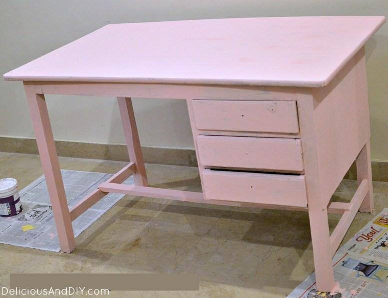 Writing Desk Table Makeover using Masking Tape  Geometric Masking Tape  Geometric Pattern  Upcycled Furniture  Writing Desk Makeover  Home Decor  Chalk Paint Furniture Makeovers