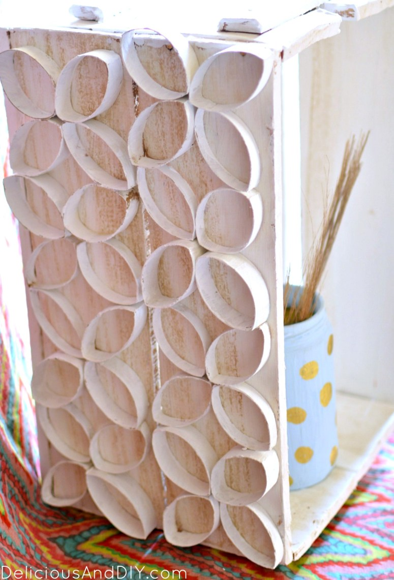 Wooden Crate Makeover using Toilet Paper Roll  TP Roll Projects  Wooden Crate Makeover  TP roll made into flowers  Recycle Crates  Repurposed Wooden Crates  TP roll projects  DIY Crafts