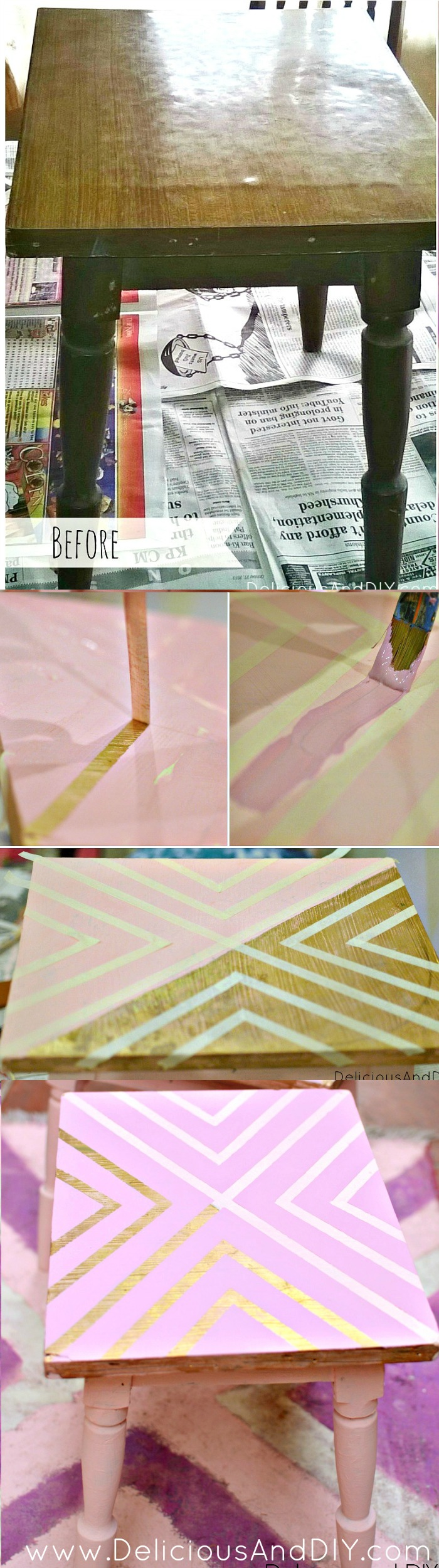 Create this fun pattern using Masking Tape and completely transform your table| Geometric Table| Painted Furniture| Home Decor| Masking Tape Table| DIY Geomteric Tables| Upcylced Furniture