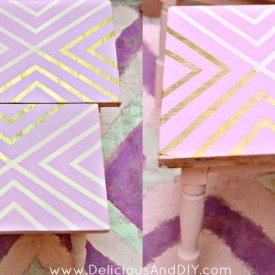 DIY Gold Geometric Tables {Using Masking Tape}