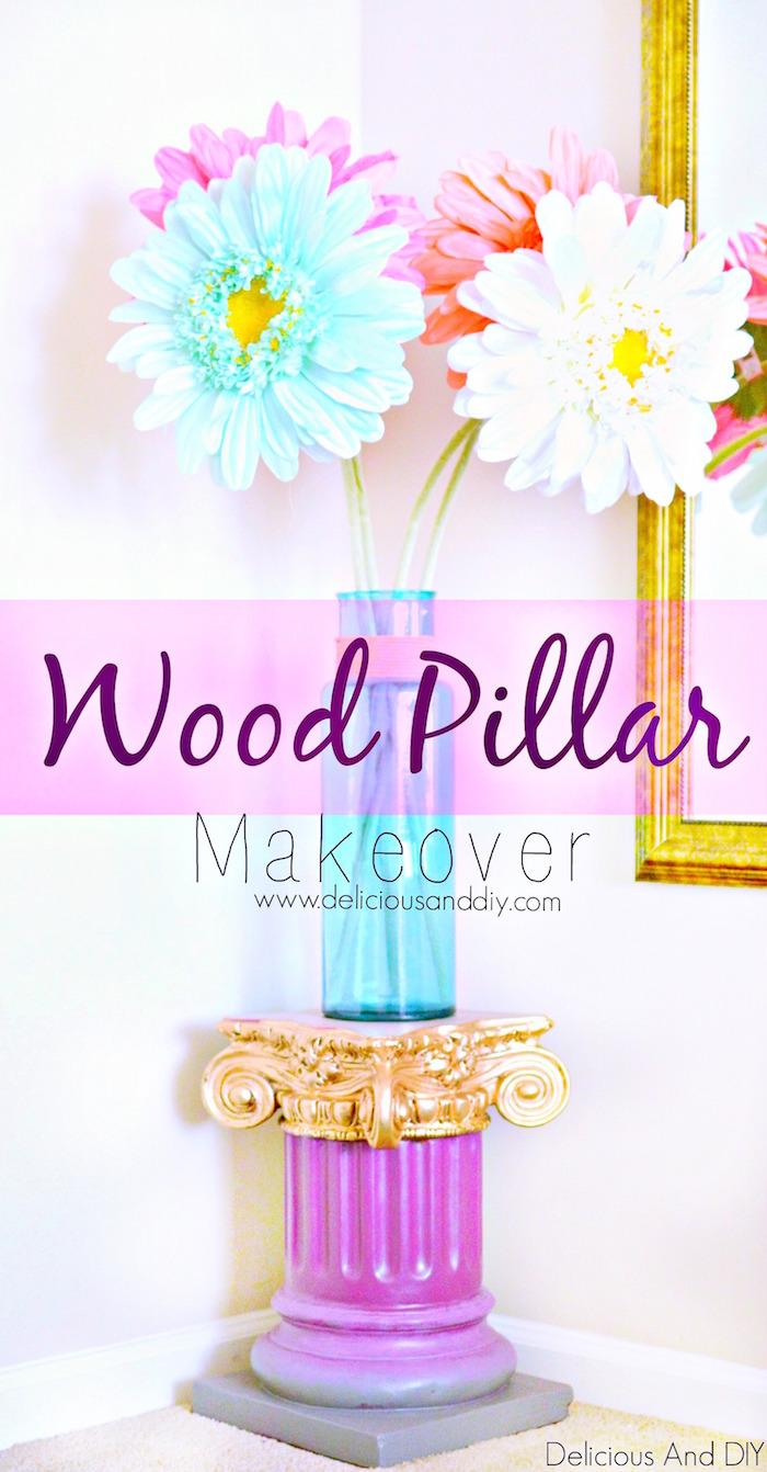 DIY Wood Column Pillar Makeover| DIY Wood Pillar Project| DIY Column Makeover| Pillar Makeover Ideas| Ombre Pillar Makeover| Painted Pillar| Before and After Projects