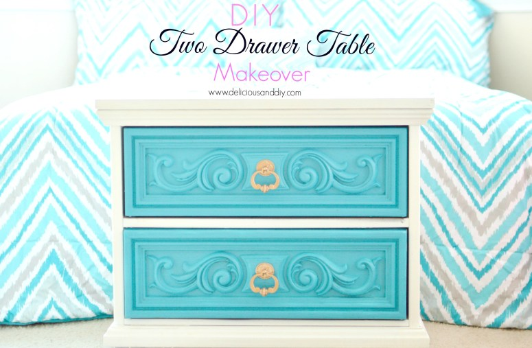 two drawer table makeover