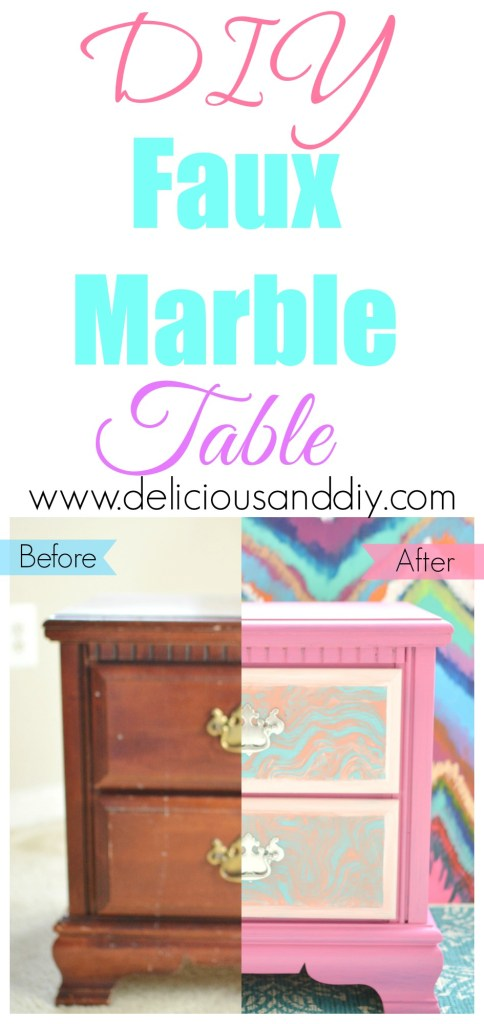 DIY Faux Marble Table- Delicious And DIY