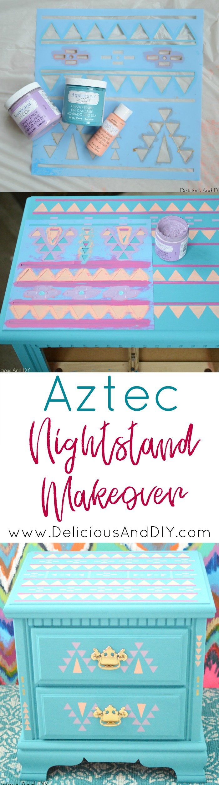 Transform your old Nightstand into this Aztec Stenciled Beauty| Home Decoration| Stenciled Furniture | Painted Furniture| Chalk Paint Furniture| Aztec Inspired Design| Nightstand Makeover